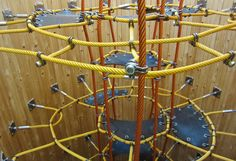 Competence in spacenets and other complex rope structures – that's what Corocord stands for: Perfection in rope play equipment. After all we invented the first play-spacenet. Play Equipment, Outdoor Playground, Playgrounds, Inventions, Contemporary Art, Indoor, Board, Projects, Floating Pontoon