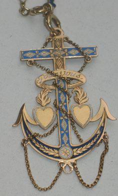 VICTORIAN 18CT 21,2 gr. GOLD & ENAMEL Necklace & PENDANT France 1890