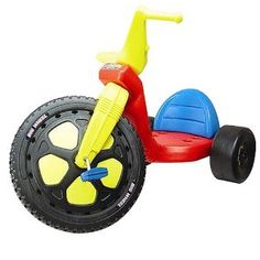 """16-Inch Original Big Wheel. Product Description The Original 16"""" Big Wheel Tricycle - The original 16"""" favorite ride'em toy from the 60's is now being manufactured again. Your children can enjoy all the fun that you had as a child. Ages 3 to 8 years. Weight limit 70 lbs. 3 position seat grows with child. Requires assembly. Does not have a hand brake. MADE IN THE USA."""