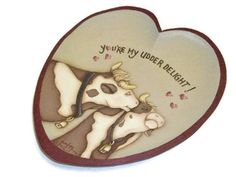 Hand Painted Heart Plate | Kissing Cows | Udder Delight Cow Design - pinned by pin4etsy.com