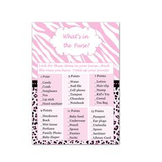 INSTANT DOWNLOAD Zebra Leopard Pink Whats In The Purse Baby Shower Cards - Baby Shower Games Baby Shower Activities Party Games Printable