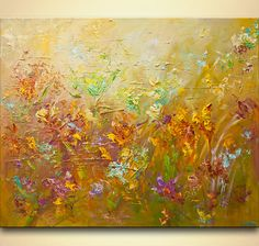 ORIGINAL wild flowers heavy texture Palette Knife by OsnatFineArt