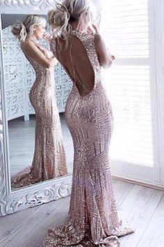 Elegant Backless Sequin Evening Dress