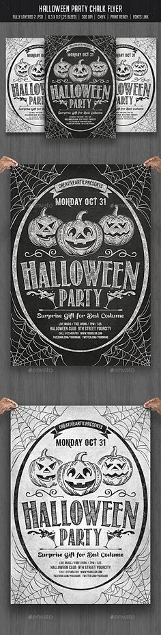 Buy Halloween Party Chalk Flyer by creativeartx on GraphicRiver.PSD Dark and White Flyer Fully editable C. Halloween Party Poster, Halloween Dance, Halloween Flyer, Cute Halloween Costumes, Halloween Invitations, Halloween Kids, Vintage Halloween, Halloween Decorations, Halloween Design