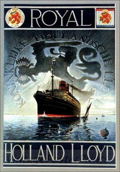 Royal Holland Lloyd Ship Vintage Poster