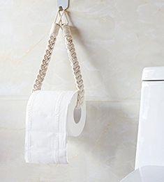 Mkono Self Adhesive Toilet Paper Holder 2 Pack Tissue Roll . Mkono Self Adhesive Toilet Paper Hold Toilet Roll Holder Diy, Toilet Paper Dispenser, Boho Bathroom, Bathroom Ideas, Macrame Design, Macrame Projects, Macrame Tutorial, Macrame Patterns, Decorating Blogs