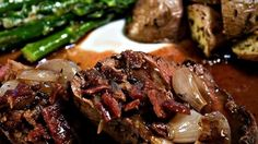 Beef tenderloin with Shallots  This tenderloin roast makes a good company dinner. It is similar to Beef Bourguignon, but requires considerably less cooking time. Roasted shallots are added to the sauce along with sauteed bacon bits. The recipe serves 6 and can be doubled.