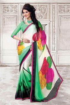 Georgette Off White, Sea Green Designer Printed Saree