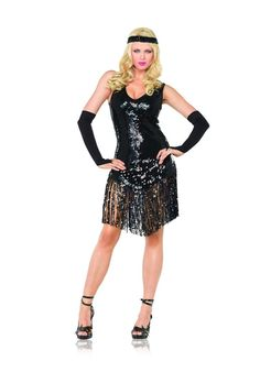 3pc Gatsby Girl Costume includes sequi flapper dress with fringe trim matching headband and fingerless gloves