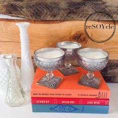 ALERT!! Volcano candle dupes @ http://reSOYcle.etsy.com  Upcycled vintage glassware =) Mirrored Cut Glass Goblet Soy Candle Set of 3  Volcano by reSOYcle, $30.00