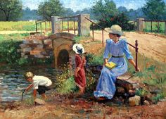 Mother and Daughter Oil Paintings Victorian | Mother and Children at Bridge