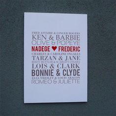 Affiche personnalisée couples mythiques
