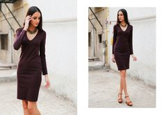 Dark Chocolate Fantasy! A midi dress in a dark chocolate hue and with minimal accessories make for a perfect lunch date look. Pick your stilettos in a complimentary color and your date will be head over heels ;) #DateLooks #TrulyMadly #mididress #chic #minimal #fashion #OOTD #LookOfTheDay #pinterestlook #pinterestlove