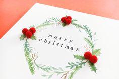 Aquarell Print Mistletoe, Christmas Cards, Merry, Tableware, Branches, Xmas Cards, Watercolor, Dinnerware, Tablewares