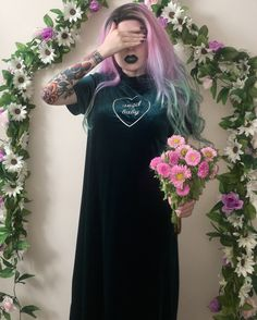 """~❀~new upcycled creation: metallic """"angel baby"""" heart embroidery on a vintage 90s green velvet dress by FEVER DREAM BOUTIQUE~❀~ Upcycled """"angel baby"""" Dark Green Heart Velvet Dress ~ Vintage 90s Pinup Nu Goth Grunge Witch Witchy Short Sleeve Long Femme Reworked Gown Pastel Hair Mermaid Sweet Lolita Kawaii Embroidered Embroidery Pink Lavender Jewel Tone Soft Pale Witchy Witch Velour Velveteen Sad Girl Bouquet Traditional Tattoo"""