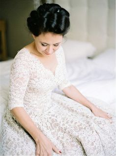 lace wedding gown love the cut/design/sleeves and neckline and fullness - probably not in lace, though...