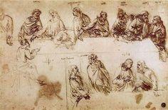 Esquisse des apotres de La Cène-Vinci