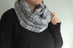 Cotton Newsprint Infinity Scarf // Katie Walker Designs // $40