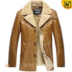 CWMALLS® Men's Sheepskin Shearling Jacket Camel CW807125  Buy sheepskin shearling jackets at CWMALLS.COM, crafted from natural plush sheepskin shearling that's whisper soft and supple with a beautiful sheen, CWMALLS® sheepskin jackets featuring exposed shearling collar, side pocket and front button closure.  www.cwmalls.com  Email: sales@cwmalls.com