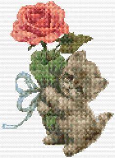 Cat and rose cross stitch pattern Cute Cross Stitch, Cross Stitch Rose, Cross Stitch Animals, Cross Stitch Charts, Cross Stitch Designs, Cross Stitch Patterns, Cat Cross Stitches, Cross Stitching, Cross Stitch Embroidery