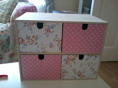 Ikea drawer unit covered in Cath Kidston wrapping paper.