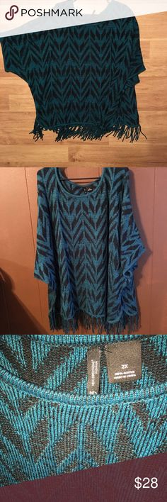 New directions top 2x teal color beautiful poncho look blouse new directions Tops Blouses