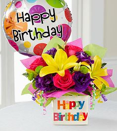 The Best Pictures Of Happy Birthday Flowers And Balloons And View The Happy Birthday Bouquet Flowers Happy Birthday Bouquet, Happy Birthday Wishes Cards, Happy Birthday Pictures, Happy Birthday Mom, Happy Birthday Balloons, Birthday Photos, Birthday Greetings, Birthday Cards, Happy Pictures