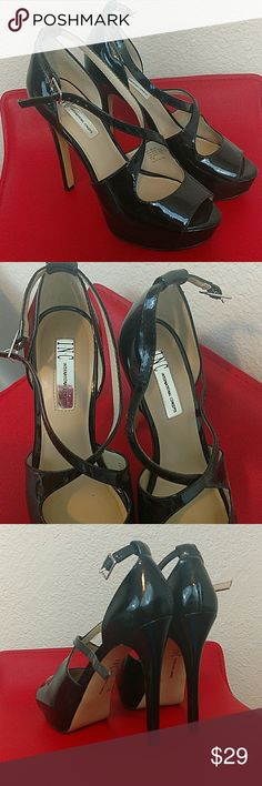 INC strappy platform sexy heels black patent leath Only worn once! INC International Concepts Shoes Platforms