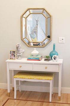 Console table-Paint white, dipped gold legs. Add false hardware from Anthro to mimic drawers/add decoration