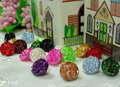 Button Pearl Rose Flower Shape 11 mix colors assorted by ByJuliet, $5.50