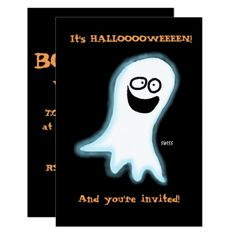 Cute Cartoon Ghost Funny Halloween Party Card - black gifts unique cool diy customize personalize