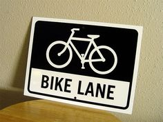 Bike Lane Sign 12x9 inches Bike Sign by AuthenticSigns on Etsy, $14.00