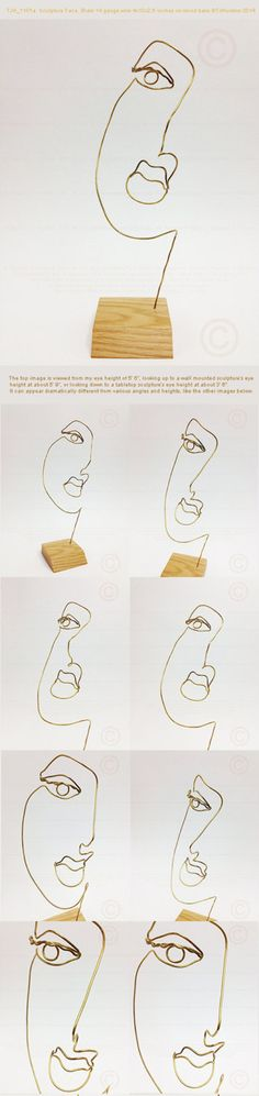 """Metal wire sculpture of a woman's face that is 4"""" width x 10"""" height x 2.5"""" in depth on wood base. Medium: 14 gauge round bare Brass wire. by TheoJHuckinsSculpts on Etsy https://www.etsy.com/listing/212210078/metal-wire-sculpture-of-a-womans-face"""