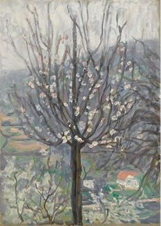 #oilpainting #arthur #Studd: #Blossom, early morning  #Oilonpanel #oilpainting #art #modernart #tree #nature #Britishart #llfa