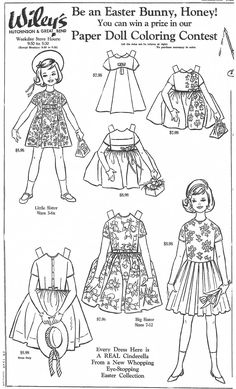 """EASTER Fashions, March 12, 1964. """"Be an Easter Bunny, Honey! You can win a prize in our Paper Doll Coloring Contest."""" """"Every Dress Here is A REAL Cinderella From a New Whopping Eye-Stopping Easter Collection."""" This newspaper ad appeared in The Great Bend Daily Tribune, Kansas, March 1964 for WILEY's Department Store"""