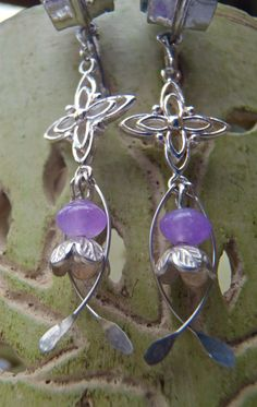 sublime AMETHYST sterling silver earrings with FLOWERs by GPyoga, $73.00