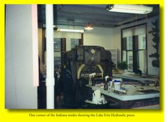 The Lake Erie Press was centered a work space in the southeast corner of the space, the Master Printmaker's workspace is on the back side of the press.
