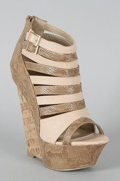 Liliana Peace-7 Snake Strappy Platform Wedge in Taupe