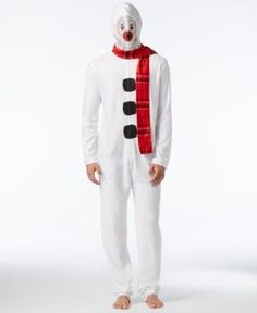 American Rag Men's Snowman 1-Pc. Costume with Mesh Face, Only at Macy's - White XL