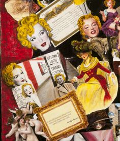 Marilyn Monroe Vintage Hollywood Collection Collage  Hand painted black and white photographs with acrylic paint.