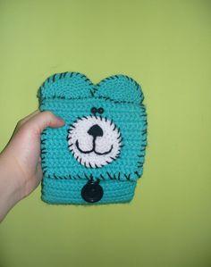 Crochet wallet kawaii wallet bear wallet turquoise by goshet