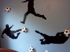 For the Soccer Player in Your Family & yes - those too are real soccer balls on . For the Soccer Player in Your Family & yes – those too are real soccer balls on the wall! Boys Soccer Bedroom, Soccer Room, Kids Soccer, Boy Room, Kids Bedroom, Real Soccer, Soccer Ball, Bedroom Ideas, Bedroom Wall