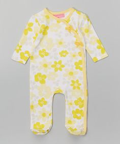 Look what I found on #zulily! Yellow Floral Wrap Footie - Infant by Isaac Mizrahi #zulilyfinds