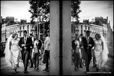 Using a shop window on Kensington High Street as Natalie and Chris make their way to Kensington Palace  -