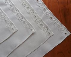 Placemats Italian Work Embroidery 4 Linen Vintage 1920s