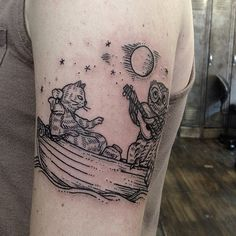 the Owl and the Pussycat by Sue Jeiven at East River Tattoo, Brooklyn. Baby Tattoos, Time Tattoos, Body Art Tattoos, Sleeve Tattoos, Cool Tattoos, Rat Tattoo, Tattoo Care, East River Tattoo, Literary Tattoos