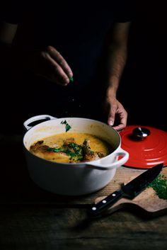 saffron and coriander chicken fricassee| A Brown Table