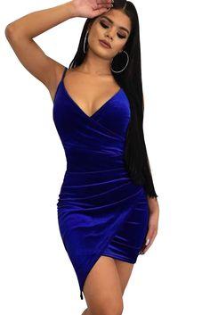 Blue Wrapped V Neck Ruched Velvet Mini Dress e8623de1cb8c