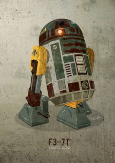 R2-D2 #Boba FettDesign -Here's an awesome picture featuring a Star Wars R2 droid with a Boba Fett style #design. It was created by Nick Scurfield, and it's called F3-7T. Here's a note from the artist,