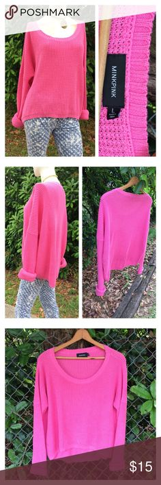 """Minkpink Boxy Oversized Knit Pullover Sweater ❤️Cute pink medium knit pullover - boxer oversized loose fit. No flaws. EUC!  ❤️ Approx Measurements laid flat-  (double where necessary)   Underarm to underarm: 29"""" Waist: 28"""" Hips: 27"""" Shoulder to Hem: 22"""" front 26"""" back  Sleeve: 22""""  (posh only) MINKPINK Sweaters Crew & Scoop Necks"""